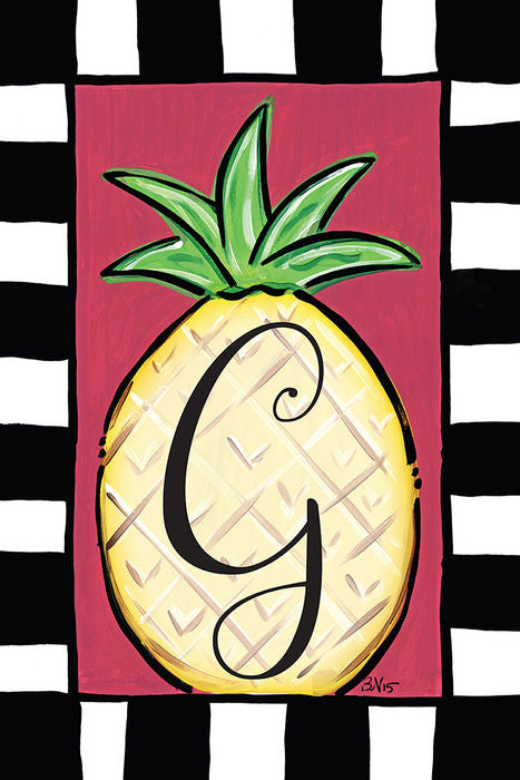 Pineapple Monogram G Garden Flag