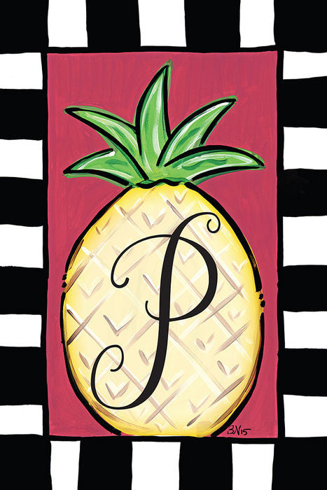 Pineapple Monogram P Garden Flag