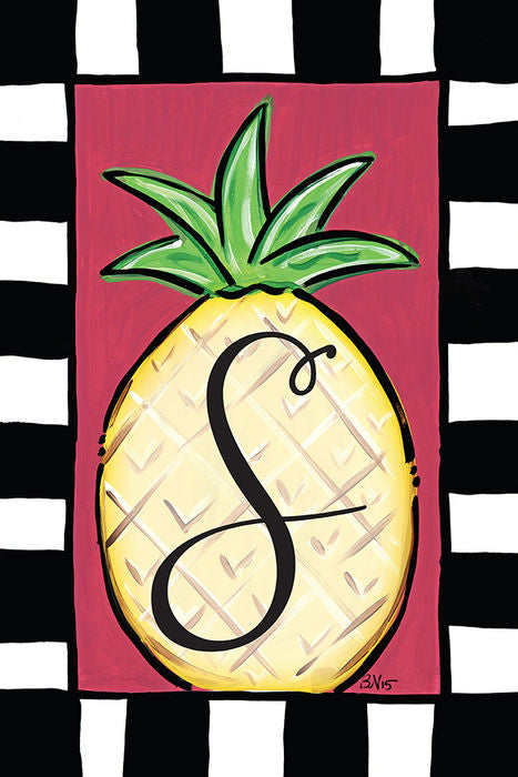 Pineapple Monogram S Garden Flag