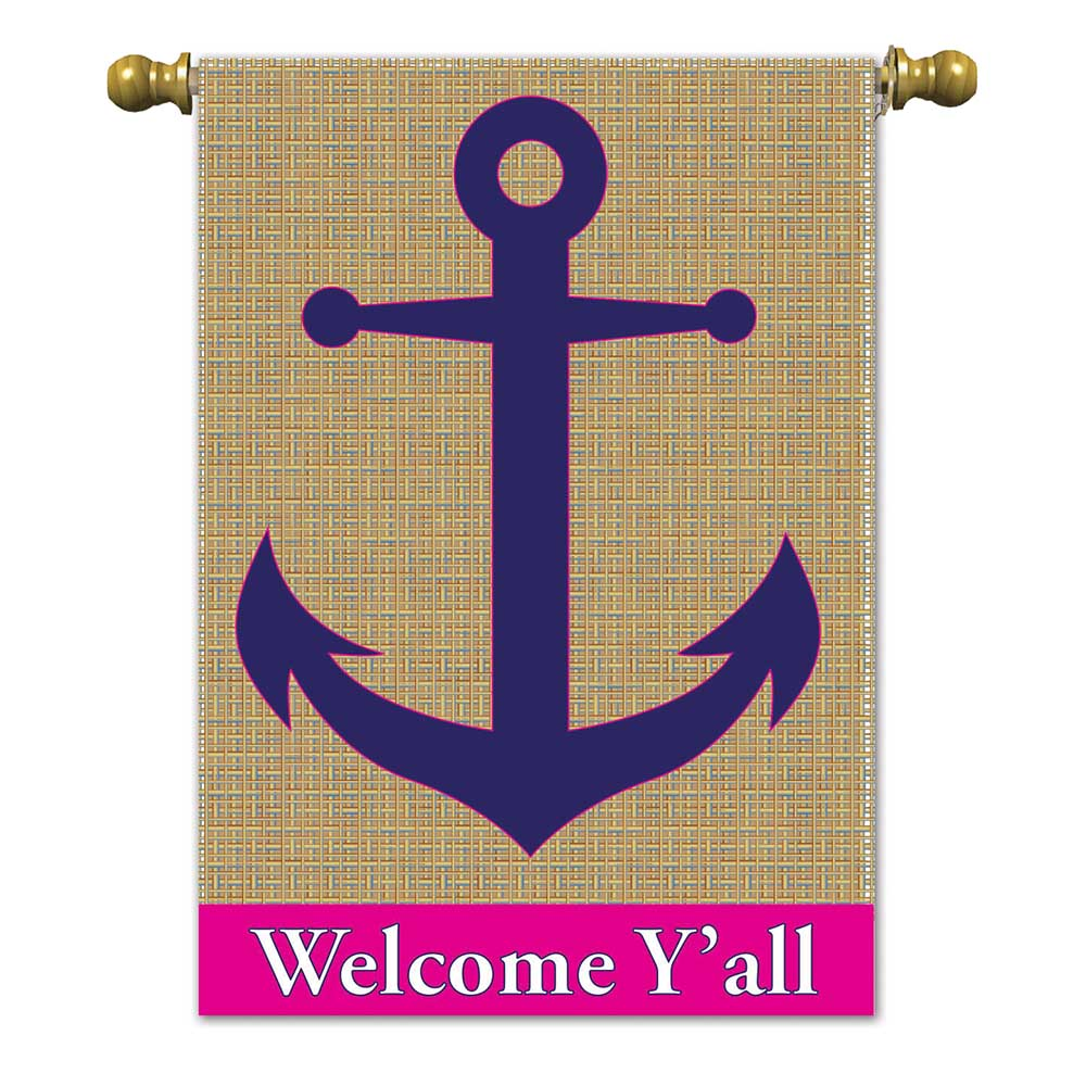 Burlap Anchor House Flag