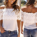 Summer Off Shoulder Lace Floral Chiffon Blouse (S - 4XL)
