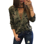 Long Sleeve Camouflage Blouse