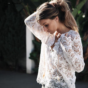 Elegant Lace Crocheted Hollow Out Blouse