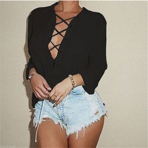 Turn Down Collar Front Lace Up Long Sleeve Blouse (S-3XL), Blouse - Yadys.com