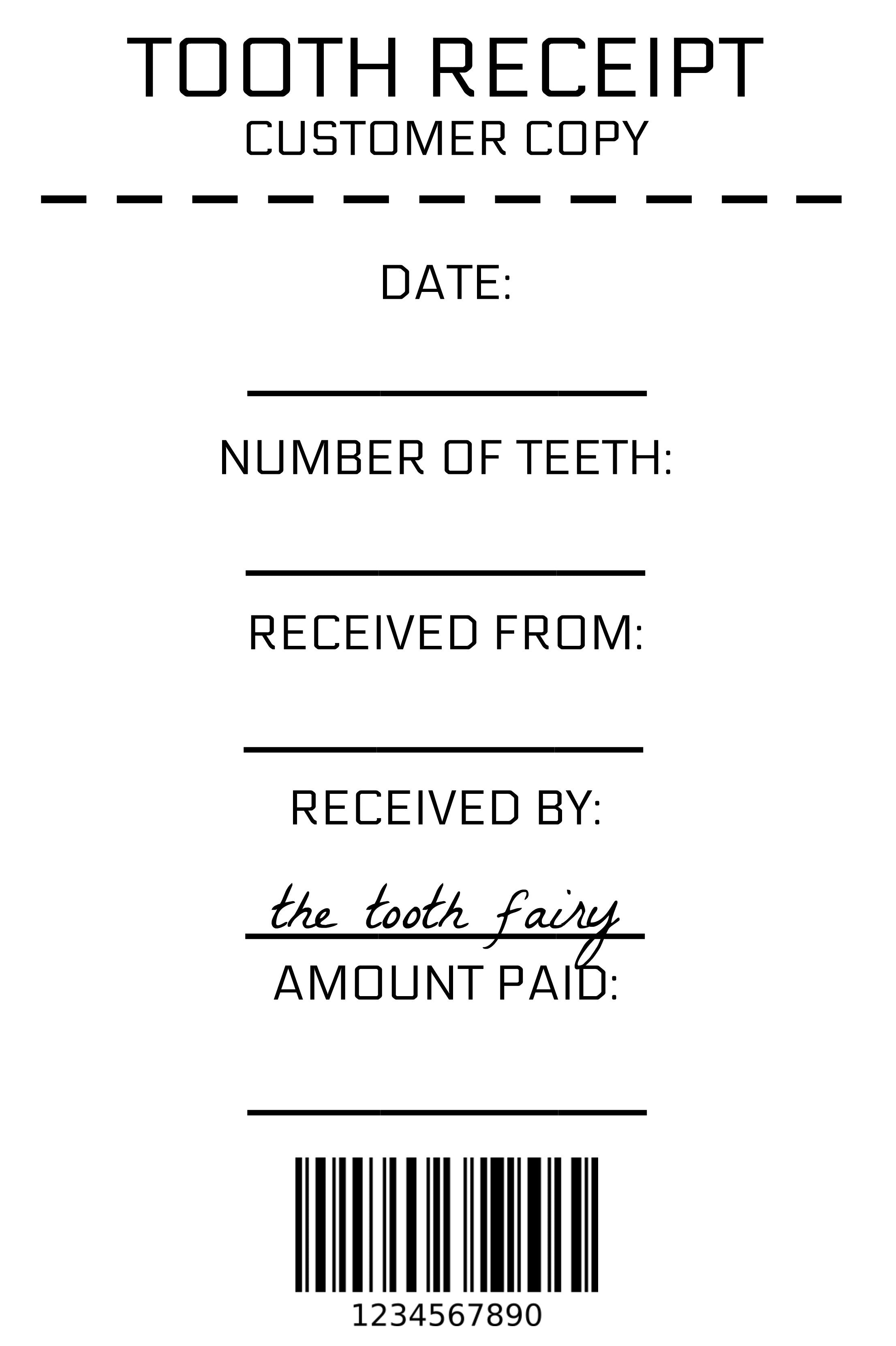 photograph about Printable Tooth Fairy Receipt identified as Teeth Fairy Receipt - Amusing Fable Productions