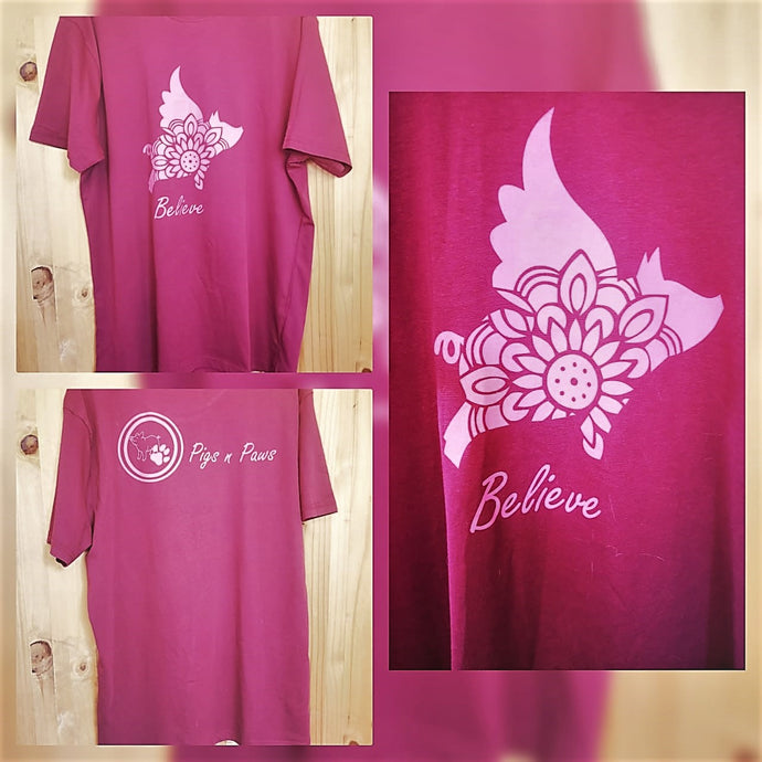 Maroon T-Shirt (Flying pig and Believe print) Extra Large