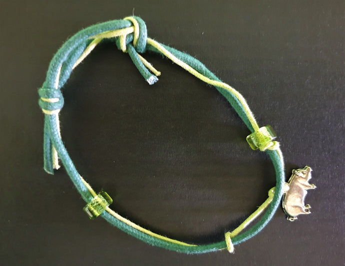Green Bracelet with Piggy Charm