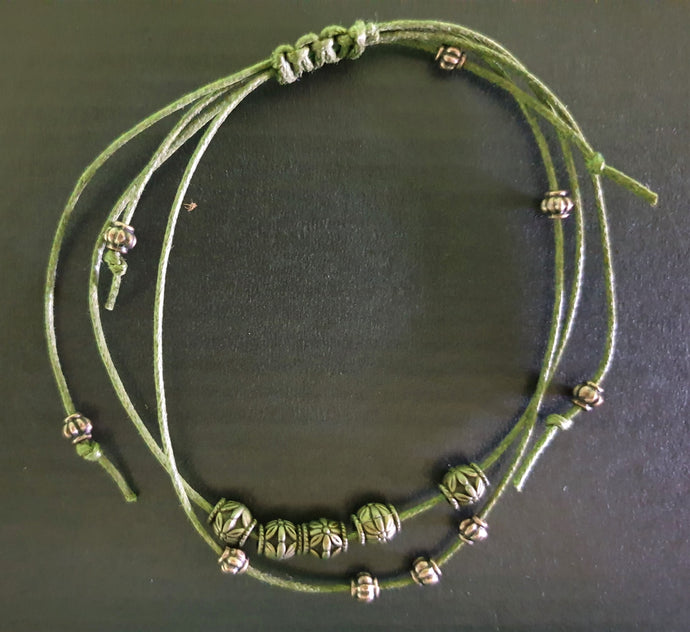 Dark Green Bracelet with Silver Beads