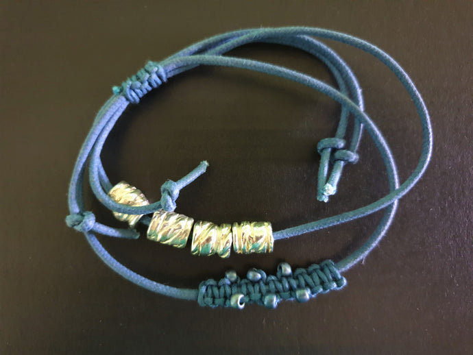 Blue Bracelet with Silver Beads