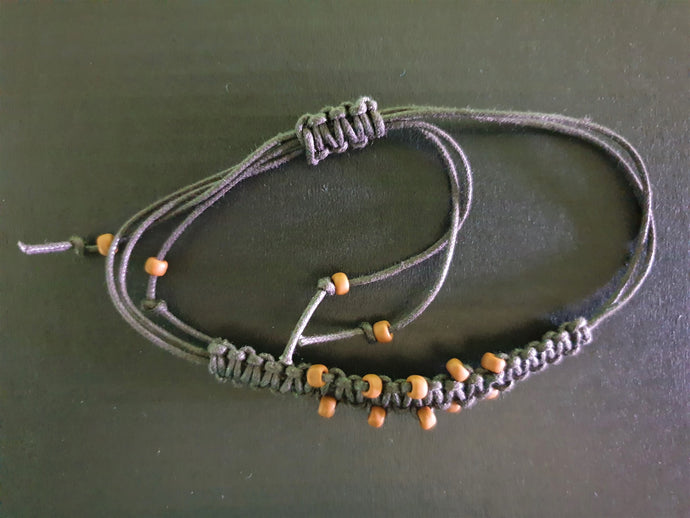 Black Bracelet with Brown Beads