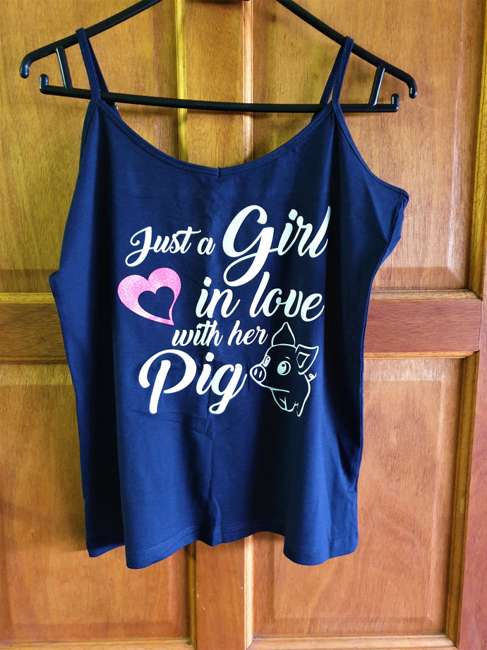 Navy Tank Top (Large) - Just a Girl in love with her Pig