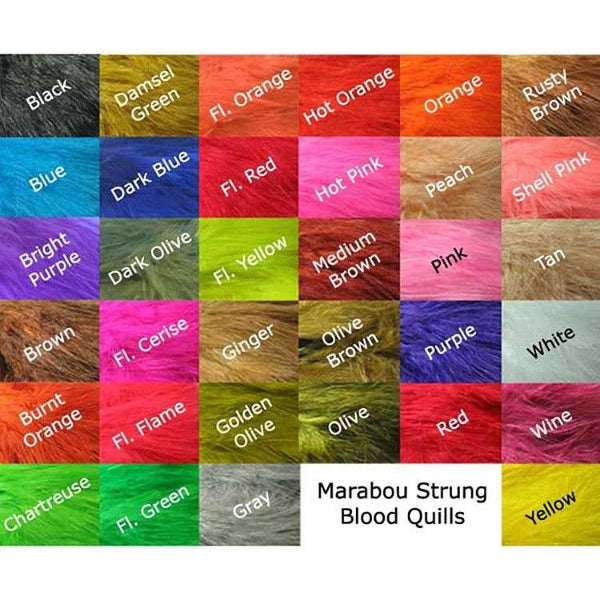 Strung Blood Marabou Quills - East Rosebud Fly & Tackle - Free Shipping, No Sales Tax