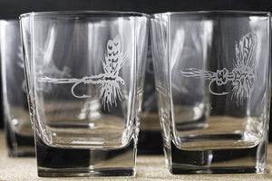 East Rosebud Fly and Tackle Sand Carved Square Highball Glass Set