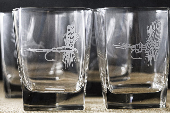 Sand Carved Square Highball Glass Set