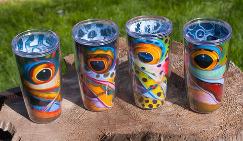 DeYoung Fish Face Travel Coffee Mugs - East Rosebud Fly & Tackle - Free Shipping, No Sales Tax