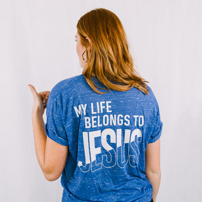 "Blue ""My Life Belongs to JESUS"" Crew neck T-Shirt"