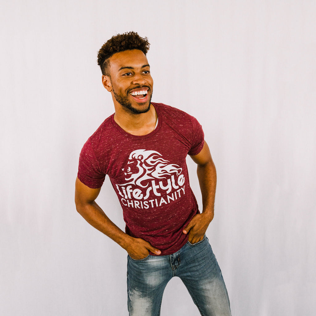 Maroon Heather Crew Neck Tee
