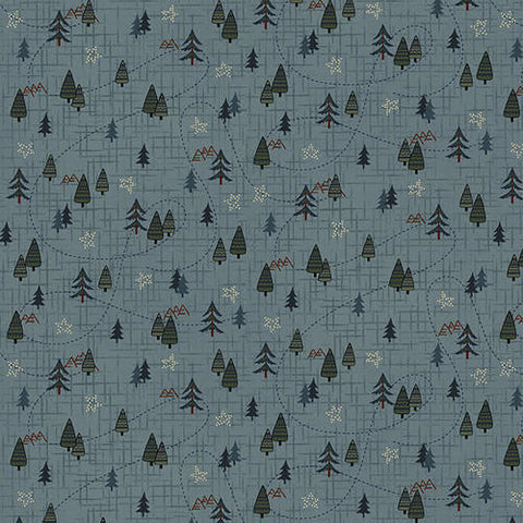 Folk Art Flannels IV - Janet Nesbitt - Blue Mini Trees