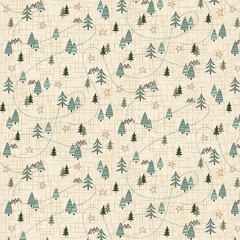 Folk Art Flannels IV - Janet Nesbitt - Cream Mini Trees