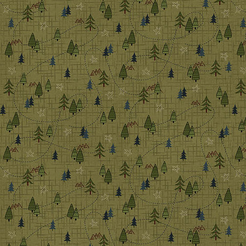 Folk Art Flannels IV - Janet Nesbitt - Green Mini Trees