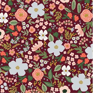 Rifle Paper Co.'s Garden Party - Wild Rose Burgundy Metallic -  PreOrder, Arrives February/March 2021 - DELAYED UNTIL MAY