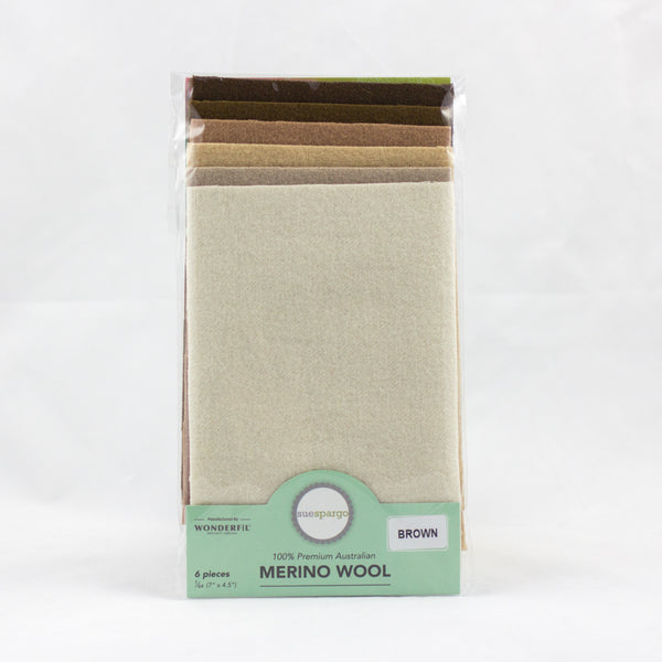 "Sue Spargo Wool Fabric - 1/64 WooL Fabric Pack - 7"" x 4.5"" - Brown"