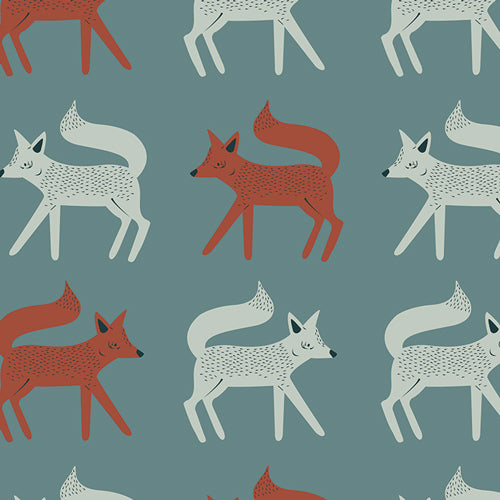 Campsite Fabric - Sneaky Little Foxes - Arrives March 2018