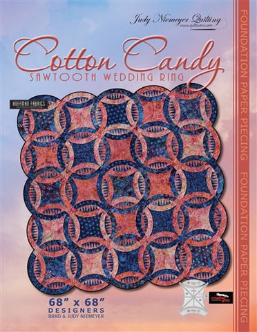 Cotton Candy Sawtooth Wedding Ring Quilt Pattern