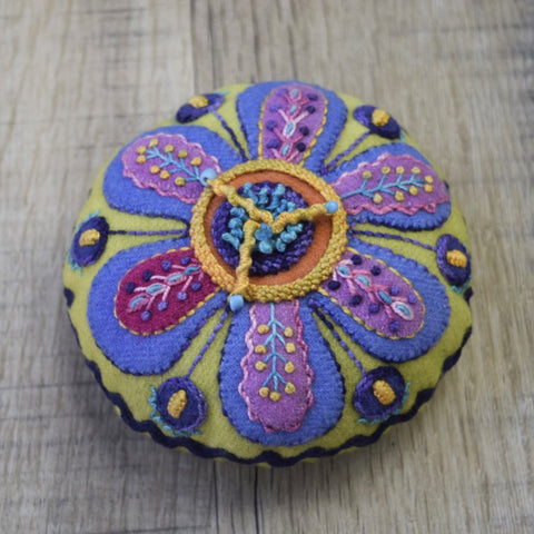 Flower Pincushion Kit - Wool Felt Embroidery - Sue Spargo
