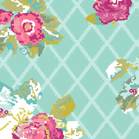 Petalbit Trellis Aqua - Grid Fabric Collection - Katarina Roccella