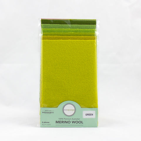 "Sue Spargo Wool Fabric - 1/64 WooL Fabric Pack - 7"" x 4.5"" - Green"