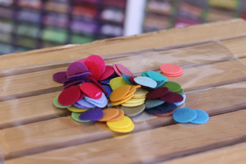96 One Inch Wool Felt Circles