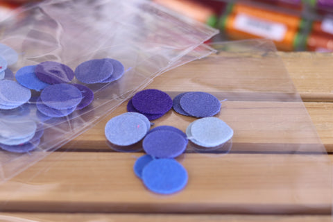 12 Blue One Inch Wool Felt Circles