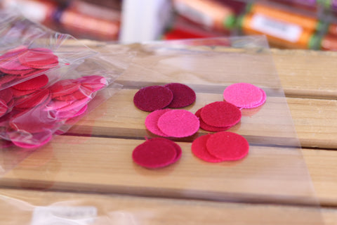 12 Red One Inch Wool Felt Circles