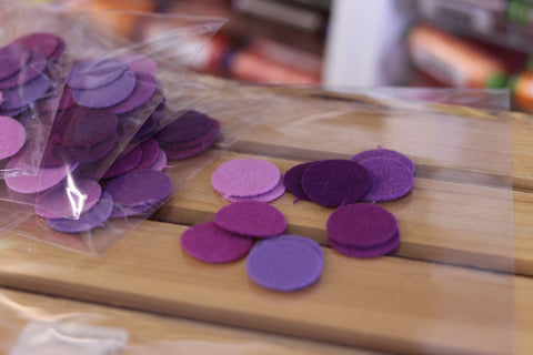 12 Violet One Inch Wool Felt Circles