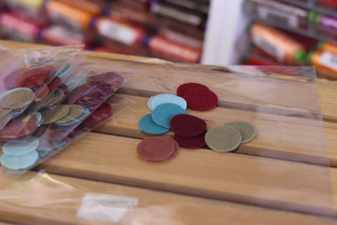 12 Nature Coloured One Inch Wool Felt Circles