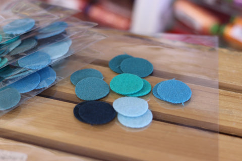 12 Turquoise Coloured One Inch Wool Felt Circles