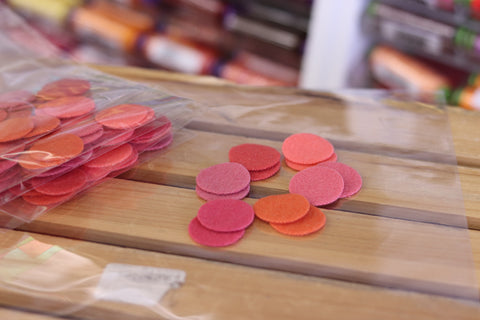 12 Orange Coloured One Inch Wool Felt Circles