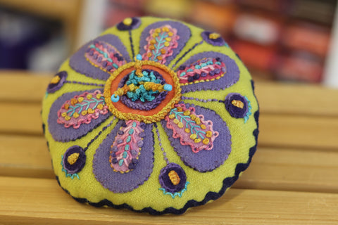 Flower Pincushion Kit - Wool Felt Embroidery - Sue Spargo - PreOrder, Arrives July 2020