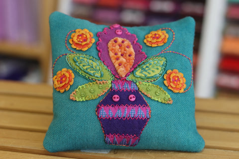 Canna Blosom Pincushion Kit - Wool Felt Embroidery - Sue Spargo - PreOrder, Arrives July 2020