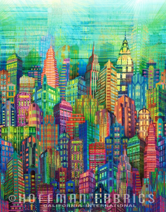 Hoffman Skylines Digital Print Extra Wide Backing - Multi Colour