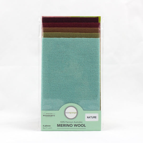"Sue Spargo Wool Fabric - 1/64 WooL Fabric Pack - 7"" x 4.5"" - Nature"