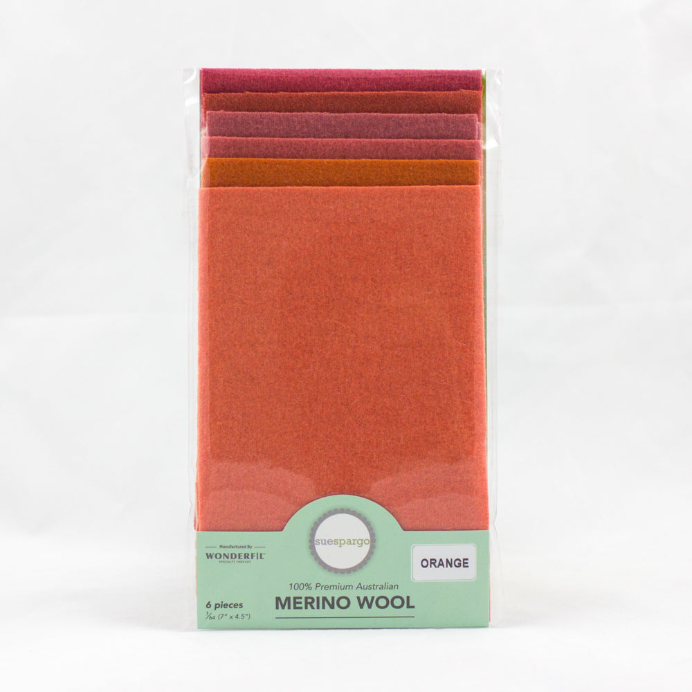 "Sue Spargo Wool Fabric - 1/64 WooL Fabric Pack - 7"" x 4.5"" - Orange"
