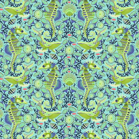 Tula Pink's Zuma Aqua Marine Sea Stallion Fabric