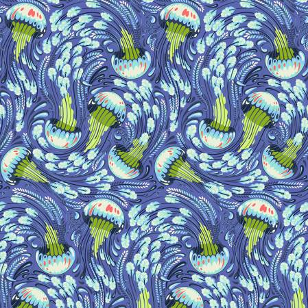 Tula Pink's Zuma Aqua Marine Sea Bloom Fabric