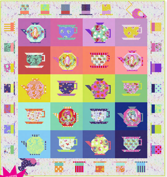 Tula Pink's Curiouser and Curiouser Mad Hatter Tea Party Quilt Kit - PreOrder, Arrives April/May 2021