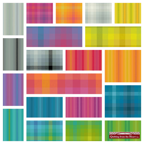 Alison Glass Kaleidoscope Stripes and Plaids 20 Fabric Bundle-Pre-order - Shipping September 2020