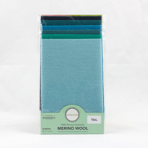 "Sue Spargo Wool Fabric - 1/64 WooL Fabric Pack - 7"" x 4.5"" - Teal"