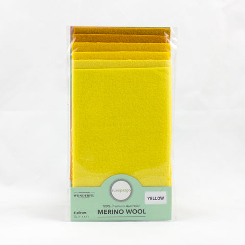 "Sue Spargo Wool Fabric - 1/64 WooL Fabric Pack - 7"" x 4.5"" - Yellow"