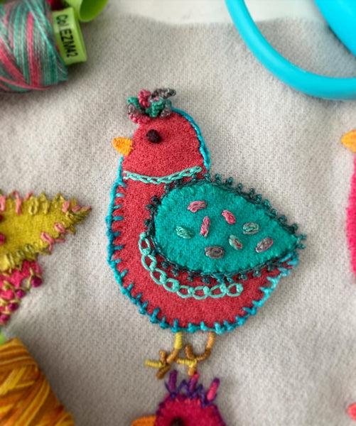 Chick Play Sampler Series Kit - Sue Spargo Wool Felt Embroidery